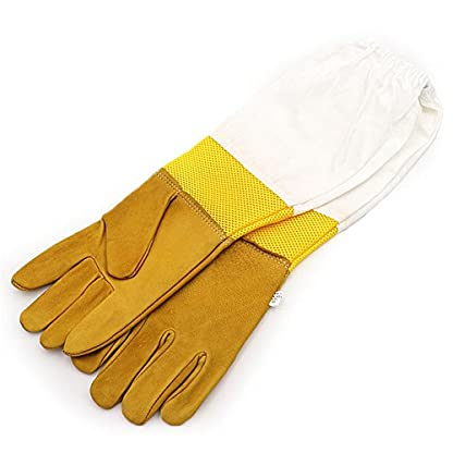 New Extra Large Beekeeping Gloves made with goatskin and thick vented cotton sleeves Bee Hive Farm Equipment 1