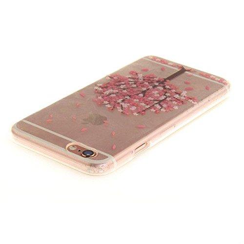 Etsue Silikon Schutz HandyHülle für iPhone 6S/iPhone 6 (4.7 Zoll) Blumen TPU Hülle, Niedlich Schöne Blume Muster Silikon Handytasche Ultradünnen Weiche Durchsichtig Handyhülle Soft Case Crystal Clear  Rosa Baum