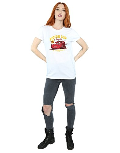 Disney Femme Cars Piston Cup Champion Petit Ami Fit T-Shirt Blanc