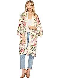 Steve Madden Womens Delicate Floral Printed Kimono Duster