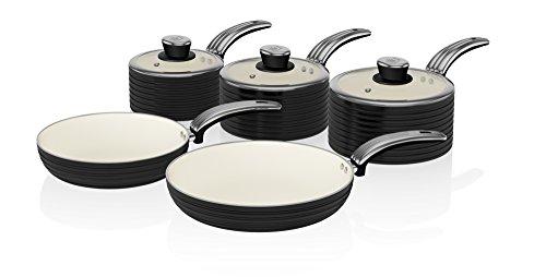 Swan Retro 5-Piece Pan Set with Ceramic Ivory Non-Stick Coating, Black