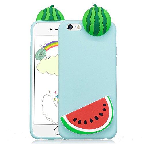 Cover iPhone 6s plus Custodia iphone 6 plus Silicone 3D Cartoon Leton Morbido TPU Gel Case per Apple iPhone 6s plus / 6 plus (5.5 pollici) Ultra Sottile Flessibile Satinato Gomma Caso Anti Graffio Ant Cocomero Verde