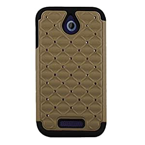 CP 2-In-1 Hard Hybrid Silicone Case with Diamond Stud for HTC Desire 510 - Non-Retail Packaging - Gold/Black