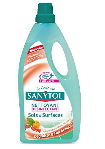 Sanytol detergente per base pavimenti e le superfici, Grape Fruit e mare sale, ultravioletti disinfetta, 1 l, 4 pcs