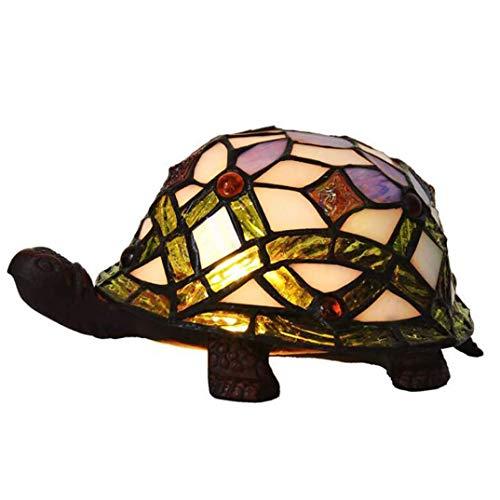 ZOUQILAI Glasmalerei Tischlampe Schildkröte Form Schreibtischlampe Schlafzimmer Nacht Kleine...
