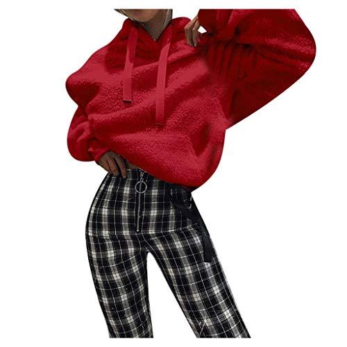 Mymyguoe Langärmeliges Fleece-Kapuzenpullover für Frauen Loose Pullover Hoodie Einfarbiges Frauen-Kapuzenpullover aus Plüsch Sweatshirt Langarm Kapuzen Sweatshirt Tops Kapuzenpullover (Hobo Kostüm Zubehör)