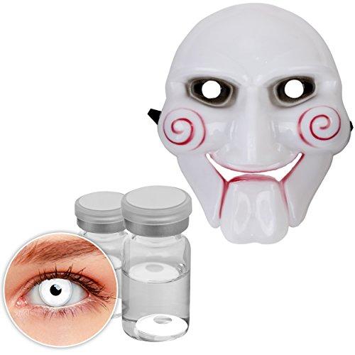 Oramics Horror Saw Maske – Halloween Kostümidee für Erwachsene – Inklusive Smiffy´s Kontaktlinsen Weiß, Horrorfilm Maske für Männer und Frauen –Maske (Ideen Horrorfilm)
