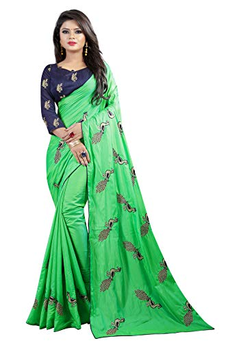 Shiroya Brothers Women's Silk Embroidered Saree with Blouse Piece (Peacock_Multicolour) 1