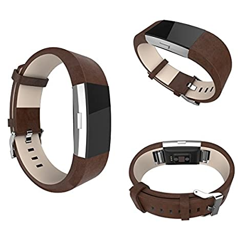 Fitbit Charge 2 Bands, SeOST Genuine Leather Replacement Wristbands for Fitbit Charge 2 (Chocolate Brown)