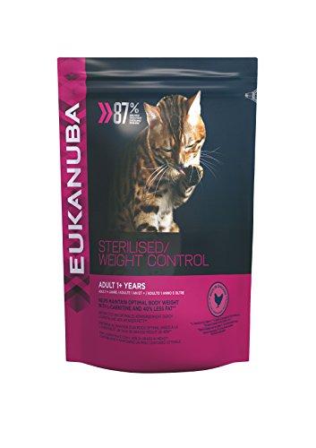 Eukanuba fettarmes Premium Katzenfutter für sterilisierte, kastrierte oder übergewichtige Katzen, Trockenfutter mit Huhn (1 x 1,5 kg)