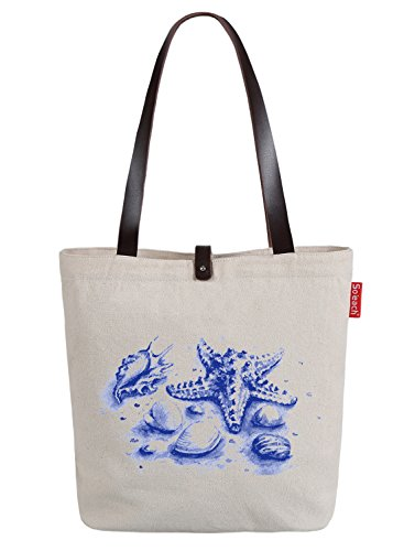 So'each Women's Marine Starfish Conch Print Top Handle Canvas Tote Shoulder Bag Natural Color