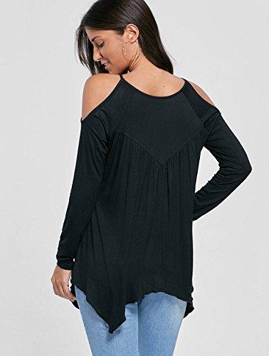 Junshan Femmes T-shirt Chemisier Blouse à Manches Longues Coutures en Dentelle Creuses Dentelle Couture Chemisier Tops Noir
