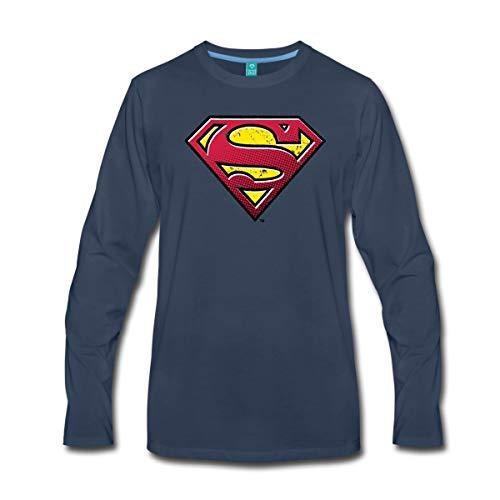 Spreadshirt DC Comics Superman Logo Used Look Männer Premium Langarmshirt, 4XL, Navy (Mann Of Steel Superman Kostüm T Shirt)