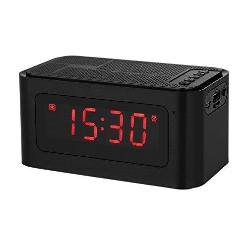 Docooler Altavoz Bluetooth de Escritorio, Despertador, FM, Reproductor de MP3,Tarjeta TF, U Disco Lector, Manos Libres, con Micrófono,Pantalla LED