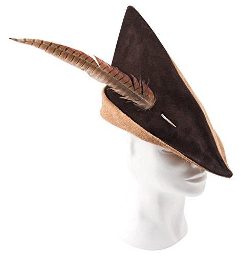 Fantashion K 73 - Spitzhut aus Leder, Robin Hood Mütze, Hellbraun/Dunkelbraun