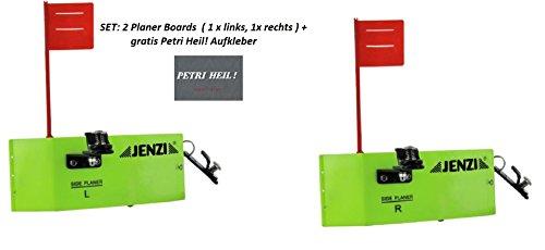 Set: 2 Stück Jenzi Side Planer mit Fahne (1x links, 1x rechts), ca 19x8cm, Planer-Board+ gratis Petri Heil! Aufkleber -