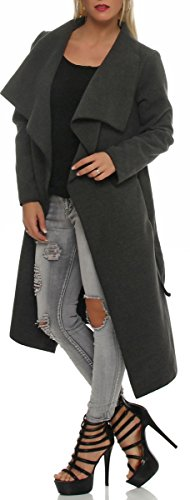 malito langer Mantel im Wasserfall-Schnitt mit Gürtel 3040 Damen One Size Grau