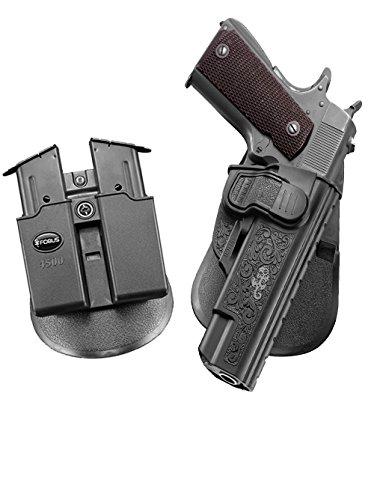 Fobus Pack verdeckte Trage Taktisch Trigger Sicherheit Zuhaltungs System + Doppel-Magazintasche für Ruger 1911 Style Pistolen/Sig Sauer 1911 und ähnliche andere die alle ohne Schienen -