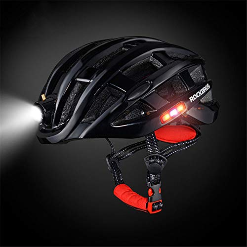 GMtes Light Cycling Helmet Bike Ultralight Helmet mit LED-Licht, wasserdicht Integral-geformte Mountain Road Fahrrad MTB Helme Safe 57-62cm,Black