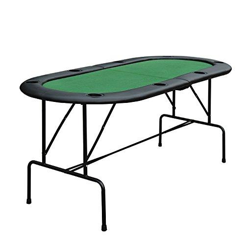 Homcom Poker Tisch Top Faltbar, 1,85m Top für 8Spieler Casino W/Chip Tabletts Getränkehaltern (faltbar) (Spieler Flanell)