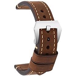 omyzam Correa Reloj Vintage de Cuero Genuino Marrón Repuesto Correa con Hebilla Grande de Acero Inoxidable Compatible con Relojes Tradicionales, Deportivos o Smartwatch 22mm