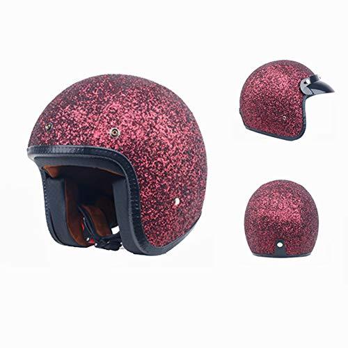 Motorradhelme 3/4 Jethelm Chopper Vintage Cruiser Motocross Helm P ersonal Shiny Women Helm,Rot,XL -