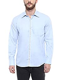 American Crew Men's Solid Shirt With Pocket (Sky Blue)