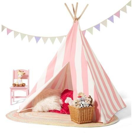 Kids Teepee Play Tent 100% cotton Canvas indoor or outdoor Playhouse with...