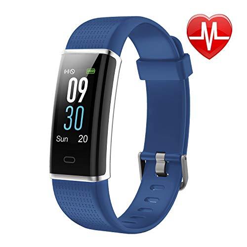 letscom fitness tracker, cardiofrequenzimetro orologio con schermo a  colori, ip68 impermeabile, contapassi,