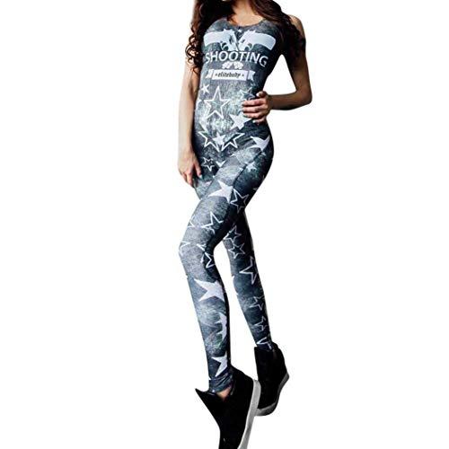 Piece Jumpsuits Print Bodycon OverallcoloreBluDimensione Star LadiesMaxi Summer Slim Casual One Sport Wrap Occasion Zhrui Fitness Donna Yoga e9YDE2IWH