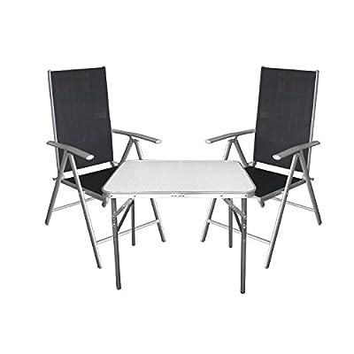 3tlg. Campingmöbel Balkonmöbel Set Aluminium Tisch Klapptisch + Hochlehner mit 7-fach verstellbarer Rückenlehne Silber