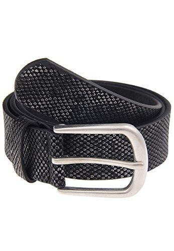 Leslii Schlangenmuster Schwarz Silber | Trendiger Gürtel | Damen Mode-Accessoire | 3,2cm breit Größe 100 -