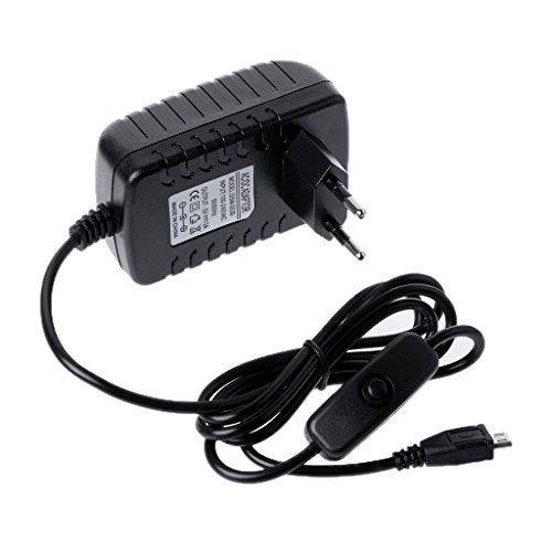 Hergon AC 100-240 V 50/60 Hz Netzteil 5 V 3A USB Lade Schalter Taste Kabel Für Raspberry Pi 3 Modell B (EU)