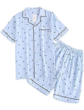 Meaeo Pijama Establece Hombre Pijama Corta Hombre Verano 100% Gasa Pijama Manga Corta Pijama De Algodón