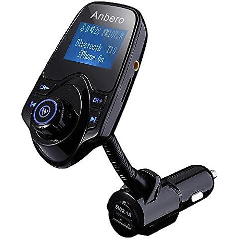 Anbero FM Transmitter Bluetooth Auto Freisprecheinrichtung Kfz-Einbausatz mit USB-Autoladegerät, Micro SD-Kartensteckplatz und 3,5mm Audio