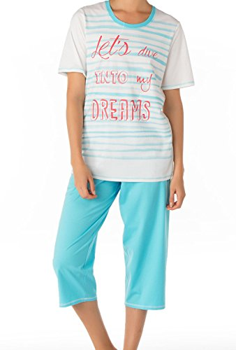 CALIDA Pyjama 3/4 Capri - Ensemble de pyjama - Femme button blue