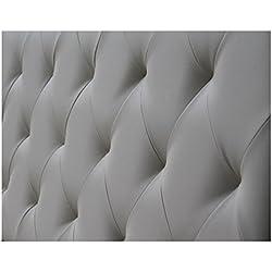 Ventadecolchones - Cabecero Modelo Diamond tapizado el Polipiel Gris y Medidas 136 x 70 cm para Camas de 120 ó 135