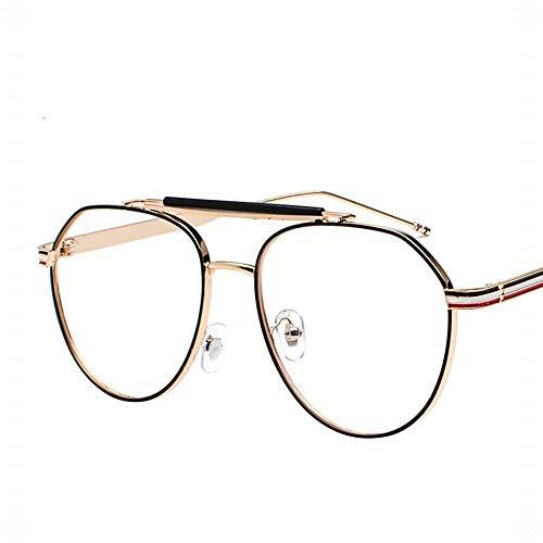 Polarisierte Sonnenbrille mit UV-Schutz Large Oval Metal Retro Emaille Brillengestell Flacher Spiegel für Männer und Frauen. Superleichtes Rahmen-Fischen, das Golf fährt ( Farbe : Gold-black frame )