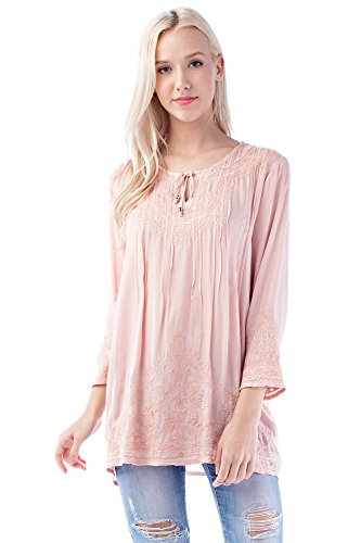 Solitaire Embroidered Blouse (Small, Blush)