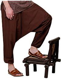 Indian Kalakari Men Solid Harem Pant, Brown, Free Size
