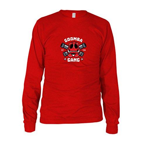 Goomba Gang - Herren Langarm T-Shirt, Größe: L, Farbe: rot (Mario Bros Goomba Kostüm)