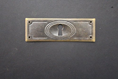 Metallbeschlag für Schublade, Jugendstil Antiquitäten, patiniert, 96 x 32 mm