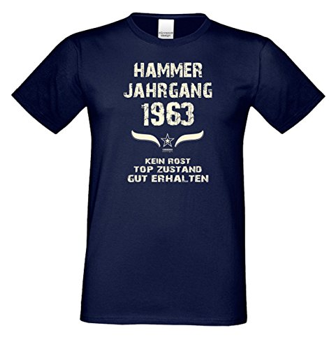 Geburtstagsshirt Mode Herren Geburtsjahr Hammer Jahrgang 1963 Geschenk zum 54. Geburtstag Freizeitlook Geschenkartikel Farbe: schwarz Navy-Blau