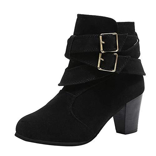 Zapatos Mujer,ZARLLE Mujeres Hebilla Damas Faux Botas Calientes Botines Tacones Medios Zapatos Martin Plataforma Casual Zapatos De Cuero SeñOra Calzado Dama Piel Talla Grande