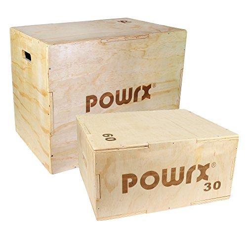 POWRX Plyobox Holz Jump-Box für plyometrisches Training I Sprungkasten -Trainer in versch. Größen (M/60 x 50 x 30 cm)