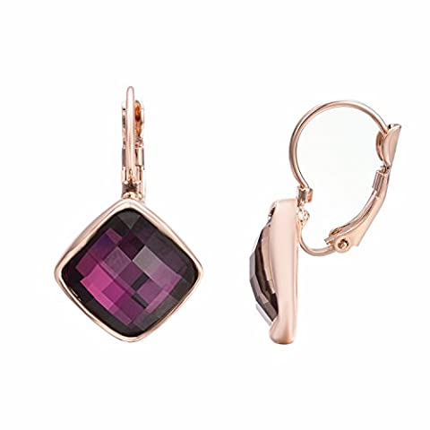 Yoursfs Amethyst Crystal Leverback Earrings Women Square Purple Stone Dangling Earrings for Evening Party 18ct Rose Gold Plated Dress