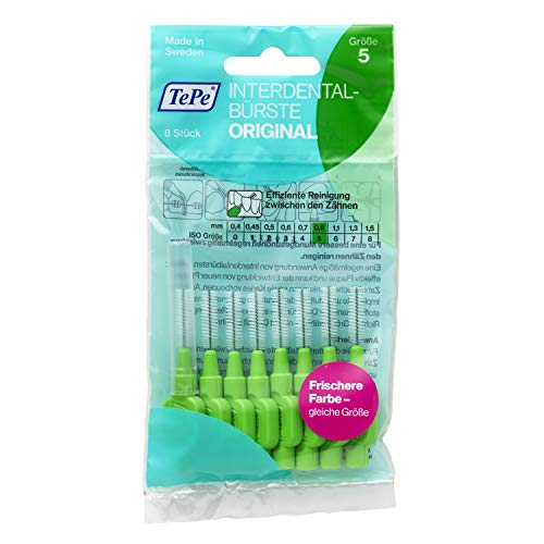 TePe Interdentalbürste Original Grün (ISO Größe 5: 0,8mm) / Für eine einfache und gründliche Reinigung der Zahnzwischenräume / 1 x 8 Interdental Bürsten