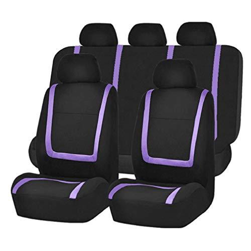 HONGIRT 9pcs / Set Copri sedili per Auto a Strisce Moda Antipolvere Lavabile coprisedili universali coprisedili per Auto, Vio