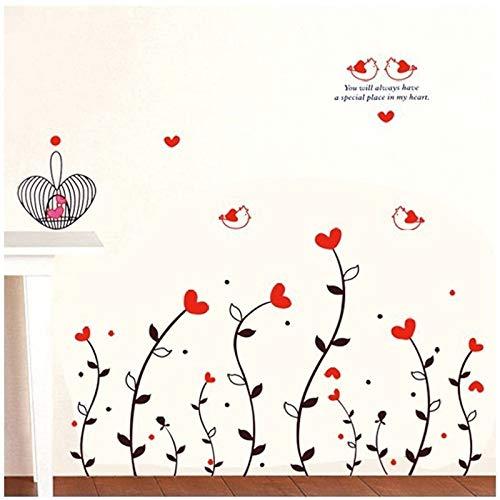 Romantische hängende rote Liebe Herz entfernbare Wandaufkleber Hauptdekorwandkunst LIEBE Hochzeitsdekoration Mittelstücke Familienabziehbilder