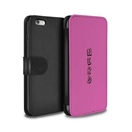 Stuff4 Coque/Etui/Housse Cuir PU Case/Cover pour Apple iPhone 6+/Plus 5.5 / Bleu/Nerd Design / Mots Griffonnage Collection Rose/Nerd